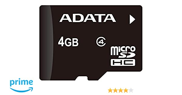 AData AUSDH4GCL4-RA1 - Tarjeta de Memoria 4 GB MicroSDHC con Adaptador