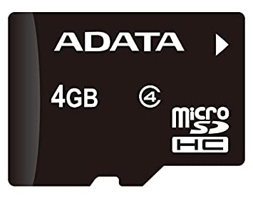 ADATA 4GB microSDHC Class 4 Memory Card with Adaptor (AUSDH4GCL4-RA1)