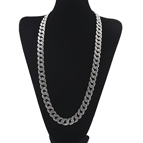 (WANZIJING Man's Necklace, Ice Out Link Necklace, Full Diamond Miami Cuban Chain Necklace Hip Hop Rapper Jewelry for Present,Silver,18'')