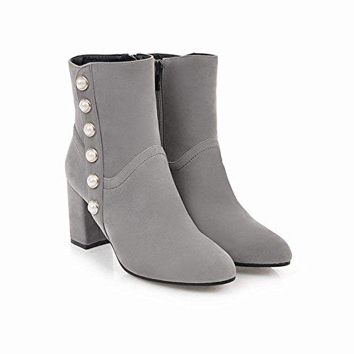 Short Boots Grey Beaded Toe High Carolbar Heel Zip Pointed Womens q4wxUOR7