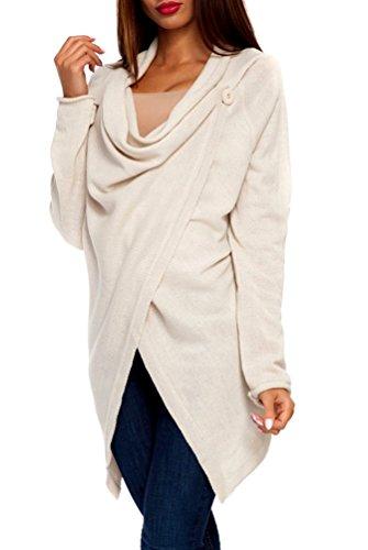 Zeta Ville - Womens Long Sleeve Knitted Waterfall Cardigan Jacket Blazer - 298z (Beige, US 6/8, ONE SIZE)