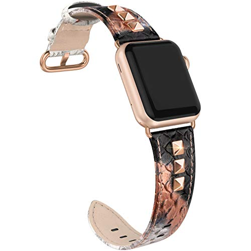 SWEES Genuine Leather Band Compatible for iWatch Apple Watch 38mm 40mm Series 4, 3, 2, 1, Sports & Edition, Bling Dressy Designer Glitter Rivets Studs Leather Bands Strap for Women, Snake Skin Pattern