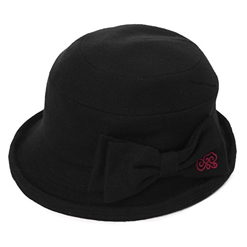 50% Wool Cloche Hat for Women Winter Hat Black Ladies 1920s Vintage Derby Church Bowler Bucket Hat Crushable SIGGI (Crushable Bucket Hat)