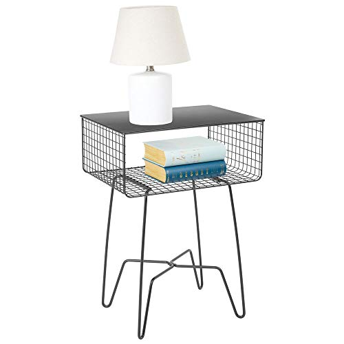 (mDesign Modern Farmhouse Side/End Table - Solid Metal Design - Open Storage Shelf Basket, Hairpin Legs - Sturdy Vintage, Rustic, Industrial Home Decor Accent Furniture for Living Room, Bedroom - Gray)