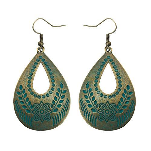 (Korea Temperament Personality Creative Boho Ethnic Style Retro Green Pine Carved Water Drop Hollow Earrings Vintage Geometric Ladies Jewelry Green)