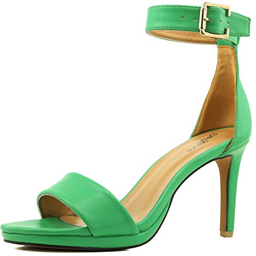 en Toe Ankle Buckle Strap Platform Evening Dress Casual Pump Sandal Shoes Green PU-75 (Single Strap High Heel Shoe)