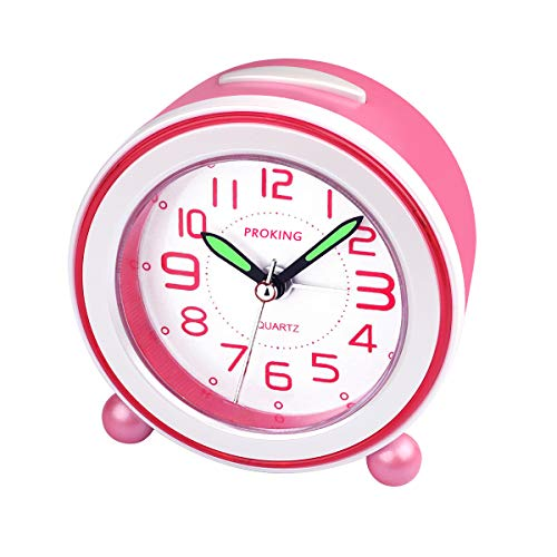 Analog Alarm Clock, Mini Non Ticking Bedside Travel Silent Alarm Clock with Loud Alarm, Night Light, Snooze, Battery Operated Wake Up Clock Pink