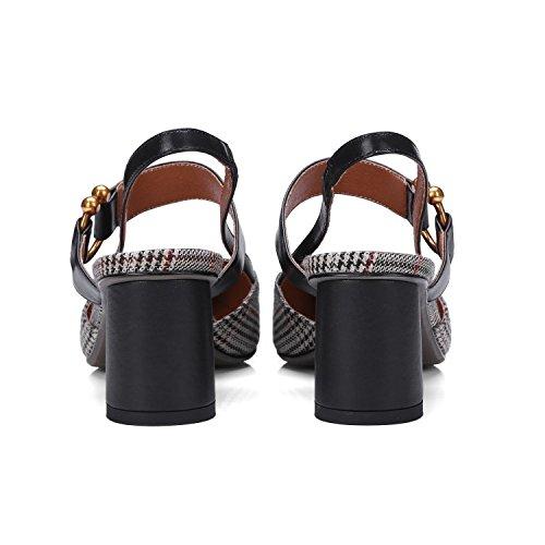 Tacón Tacón Lattice mujer Femeninas Moda Sandalias Puntiagudas Cuadros Alto de Zapatos Tacones Jqdyl YqwCRx