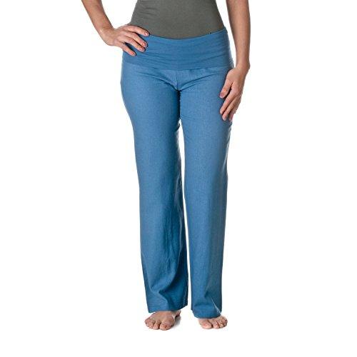 ld-Over Waist Linen Pants, Denim Blue, X-Large ()