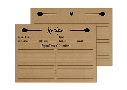 Kraft Recipe Cards 4x6 Double Sided - Set of 50 Recipe Cards - Wedding, Bridal Shower, Christmas, Holiday
