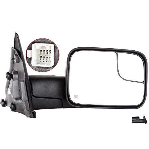 (Towing Mirrors, ECCPP High Performance Right Passenger Side Exterior Automotive Mirrors with Power Operation Heated Flip up Convex Glass Replacement fit for Dodge Ram 1500 2002-2008)
