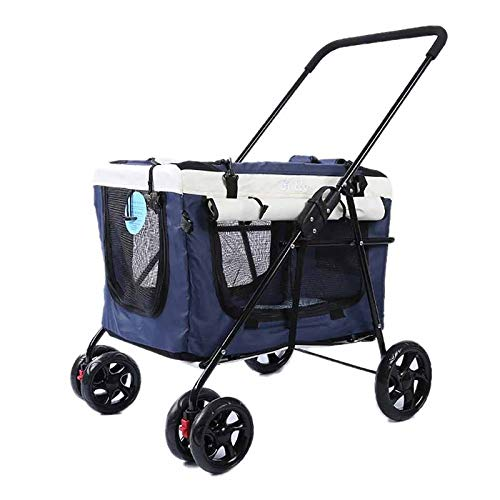 Yangs Pet Stroller, Outdoor Car – Portable Foldable Car- Separate Dog Cat Stroller (Color : A)