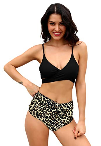 SHEKINI Womens Bathing Suits Printing Bottoms Push Up Bikini Two Piece Swimsuits (Manhattan Black - B, X-Large)