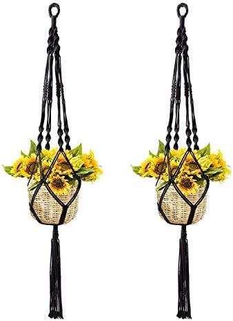 NIBESSER Makramee Blumenampel Hängeampel für Innen Außen hängende Pflanzgefäße Pflanzenhänger Blumentopf Pflanzenhalter für Balkon Decke