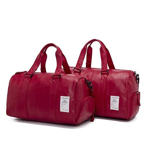 Bvilage New Retro Mens Portable Travel Bag Large Capacity Business Travel Luggage Bag Barrel Bag Color : Red