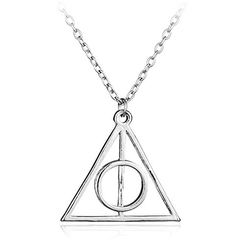 VEBE Magical Jewelry Gift Co. Deathly Hallows Symbol Pendant Charm Chain Necklace - Silver/Metal