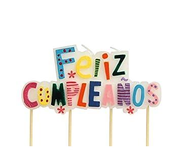 Vela con letrero de FELIZ CUMPLEAÑOS de 4.5 x 9 cm: Amazon ...