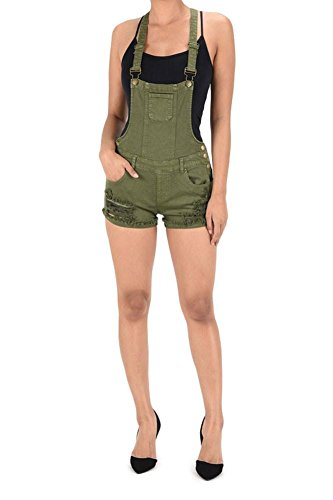 G-Style USA Women's Ripped Cutoff Shorts Overalls RJSO860 - OLIVE - Medium - EE1B