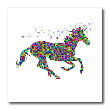 3D Rose Colorful Unicorn Fantasy Magic Imagination Animal Design Iron on Heat Transfer, 6 x 6, White (ht_254280_2) by 3dRose