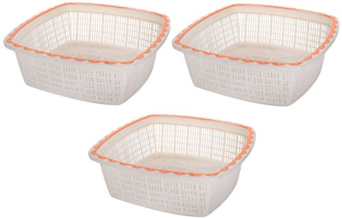 Nayasa Plastic Jingle No 2 Basket Set, Set of 3, Orange