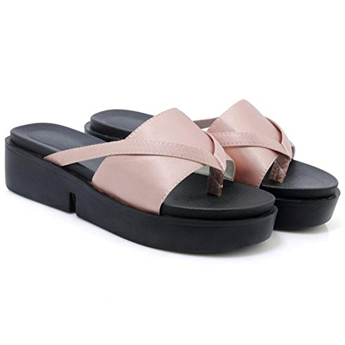 TAOFFEN Womens Platform Mules Sandals Shoes Pink h1jDATZH2b