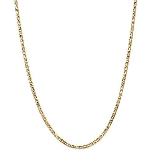 14k Yellow Gold 3mm Concave Anchor Chain Necklace 24 ()