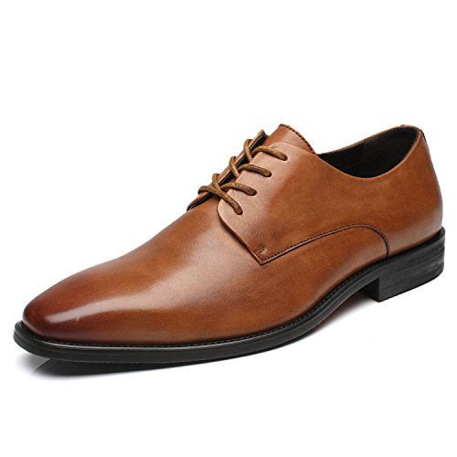 - La Milano Patina Collection Leather Plain Toe Oxford Dress Shoe
