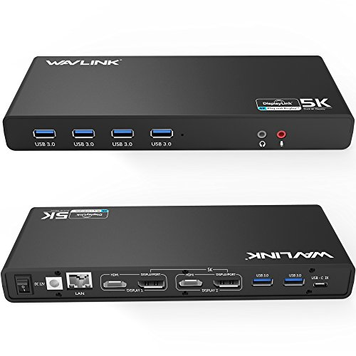 Wavlink USB C,Type-A Dual 4K Laptop Docking Station,5K/ Dual 4K @60Hz Video Outputs Dual Monitor for Windows,(2 HDMI & 2 DP, Gigabit Ethernet, 6 USB 3.0,) DL6950-PD Function Not Supported Digital Portable Docking Station