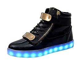Littlepanda Women Men High Top Usb Charging Led Shoes Flashing Sneakers Fashion Sneakers Us 9 5 Woman Us 8 5 Man 26 5cm Eu43 Black