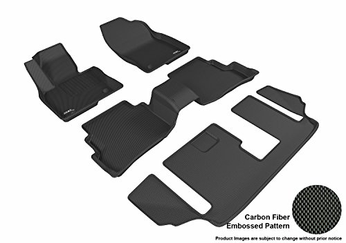 3D MAXpider Complete Set Custom Fit All-Weather Floor Mat for Select Mazda CX-9 Models - Kagu Rubber (Black)