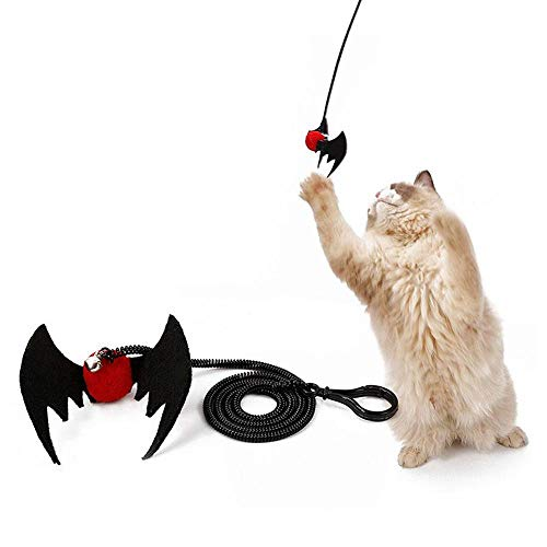 (Aolvo Cat Kitten Teasing Play Toys, Cat Halloween Spider Bat Design Springs Finger Interactive Pet Teaser Toy with Bell, Cat Interactive Play Toy - Keep Cat Phycial Healthy and Mental)