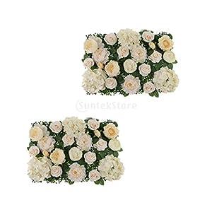 Party Diy Decorations - 2pcs Silk Artificial Rose Penoy Hydrangea Flower Wall Panel Decor 60 X 40cm - Material Panel Garden Fence Tulip Moss Artificial Wedding Hedge Holder 66