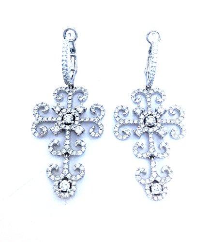 1.60 CTS Diamond Encrusted Filigree Hoop Dangle Earrings 18k White Gold VS2