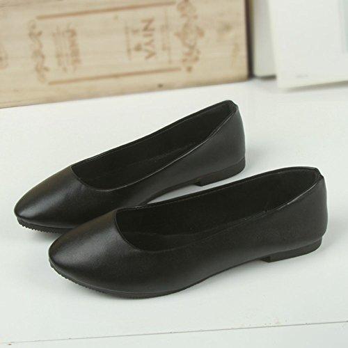 Casual Cuir Printemps En Chaussures Élégant Noir Plates Missmao Faux Danse L'automne Ballerines Été Sourdine Femmes twRq88xv