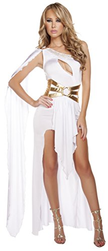 Roma Costume Women's 2 Piece Grecian Babe, White/Gold, (Goddess Venus Costumes)
