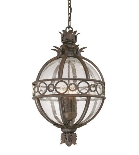 (Outdoor Pendant 3 Light with Campanile Bronze Finish Hand-Forged Iron Material Candelabra 14 inch Wide 180 Watts)