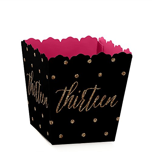 Chic 13th Birthday - Pink, Black and Gold - Party Mini Favor Boxes - Birthday Party Treat Candy Boxes - Set of 12