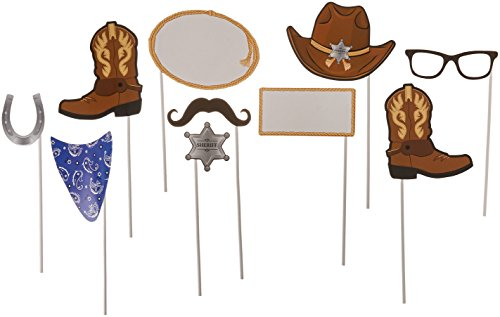 Creative Converting 317696 Assorted Photo Booth Blue Bandana Cowboy Party Props (10 Piece), Multi Sizes, Multicolor