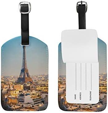 Orediy Gepäckanhänger aus PU-Leder mit Blick auf Eiffelturm, Reisekoffer, Namensschild, Namensschild, 1 Stück