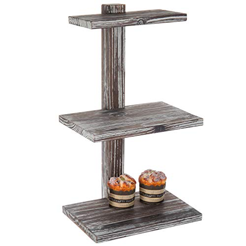 MyGift 21-Inch 3-Tier Torched Wood Dessert & Pastry Stand