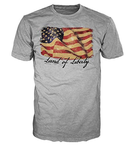 5 Star USA America Men's Graphic T-Shirt - American Flag, Patriotic, Vintage, Military, Americana Collection (Regular, Big and Tall Sizes), Heather Grey/Land of Liberty, Small