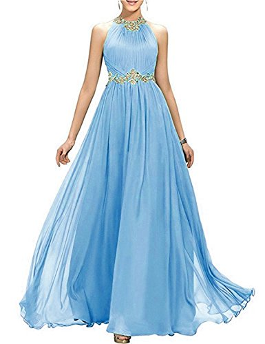 (A Line Full Length Prom Dresses 2019 Halter Empire Waist Evening Sash Manual Beaded Retro Pleated Maxi Cocktail Gowns Female Costume EV147 Blue Size)