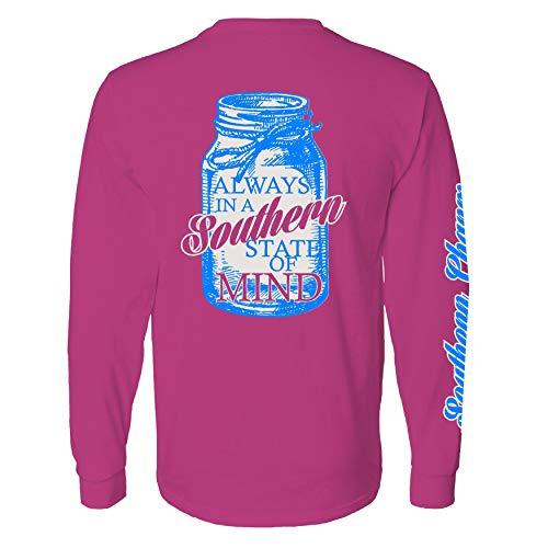 Southern Charm Mason Jar Southern State of Mind Long Sleeve Pink T Shirt
