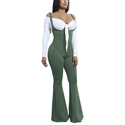 Aro Lora Women's Spaghetti Strap Low Cut Sleeveless Flare Wide Leg Pants Jumpsuits Rompers X-Large Army Green - Spaghetti Strap Low Cut