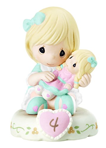 Precious Moments 152010 Growing In Grace, Age 4 Girl Bisque Porcelain Figurine Blonde - Porcelain Girl