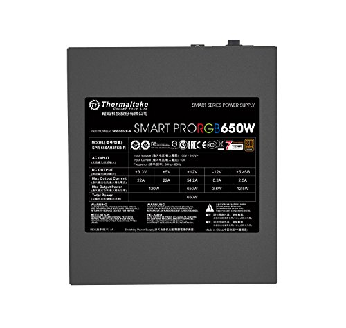 Thermaltake Smart Pro RGB 650W 80+ Bronze Certified PSU. Ultra Quiet Smart Zero 256-Color RGB, Fan Fully Modular, ATX 12V 2.4/EPS 12V 2.92 Power Supply. 7 Year Warranty PS-SPR-0650FPCBUS-R by Thermaltake (Image #8)