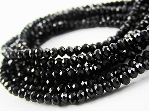 - BeadsOne 3mm - 100 pcs - Glass Rondelle Faceted Beads Black for jewerly making findings handmade jewerly briolette loose beads spacer donut faceted Top Quality 5040 (C04)