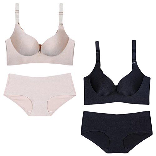 Sept.Filles Women's Wirefree Invisible Body Shape Bra & Panties Sets of 2 (85B/38B, Body Color+Black) - Bbc Panties