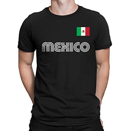 (SpiritForged Apparel Mexico Soccer Jersey Men's T-Shirt, Black 3XL )