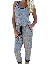 Women's Casual Sleeveless Sports Yoga Cropped Jumpsuit Overall With Drawstring